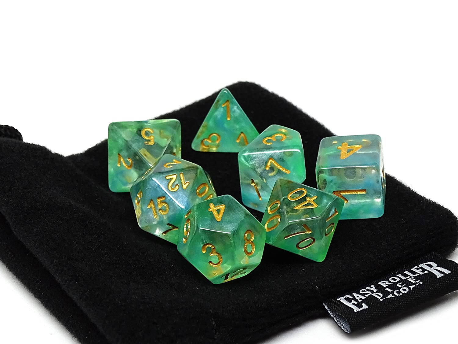 Ocean Glacier Polyhedral Dice Set 7 Piece PRISTINE Edition FREE Carrying Bag Hand Checked Quality   B079LX5922