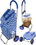 Trolley Dolly, Blue Chevron Shopping Grocery Foldable Cart