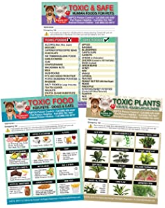 "Set of 3 Enhanced TRADEMARKED Toxic and Safe Foods, Toxic Plants and Toxic Foods Poison for Pets Dogs Cats Emergency Home Alone 5"" x 7"" Veterinarian Approved Refrigerator Safety Magnet"