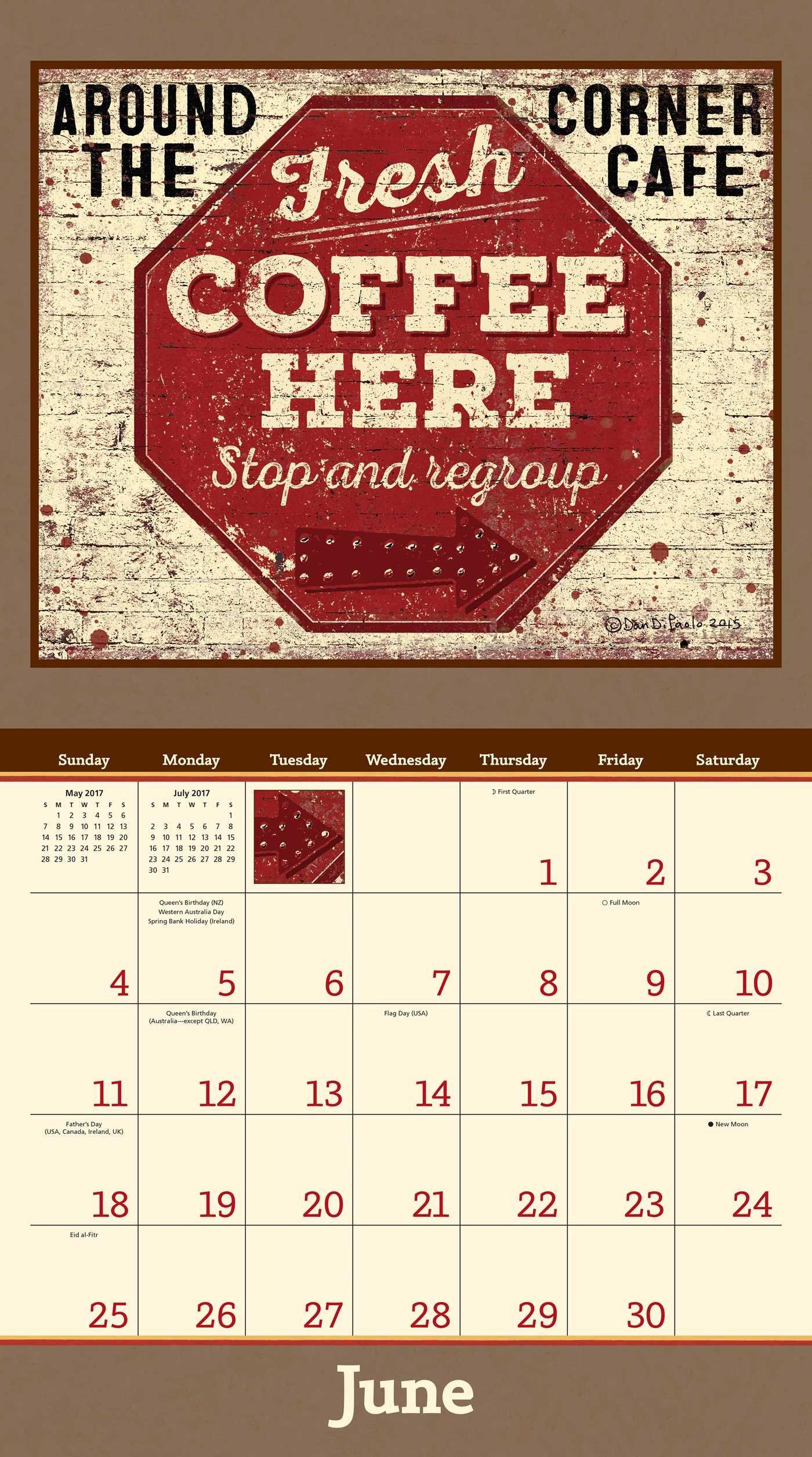 Coffee 2017 Deluxe Wall Calendar: Dan DiPaolo: 0050837353619: Amazon.com:  Books