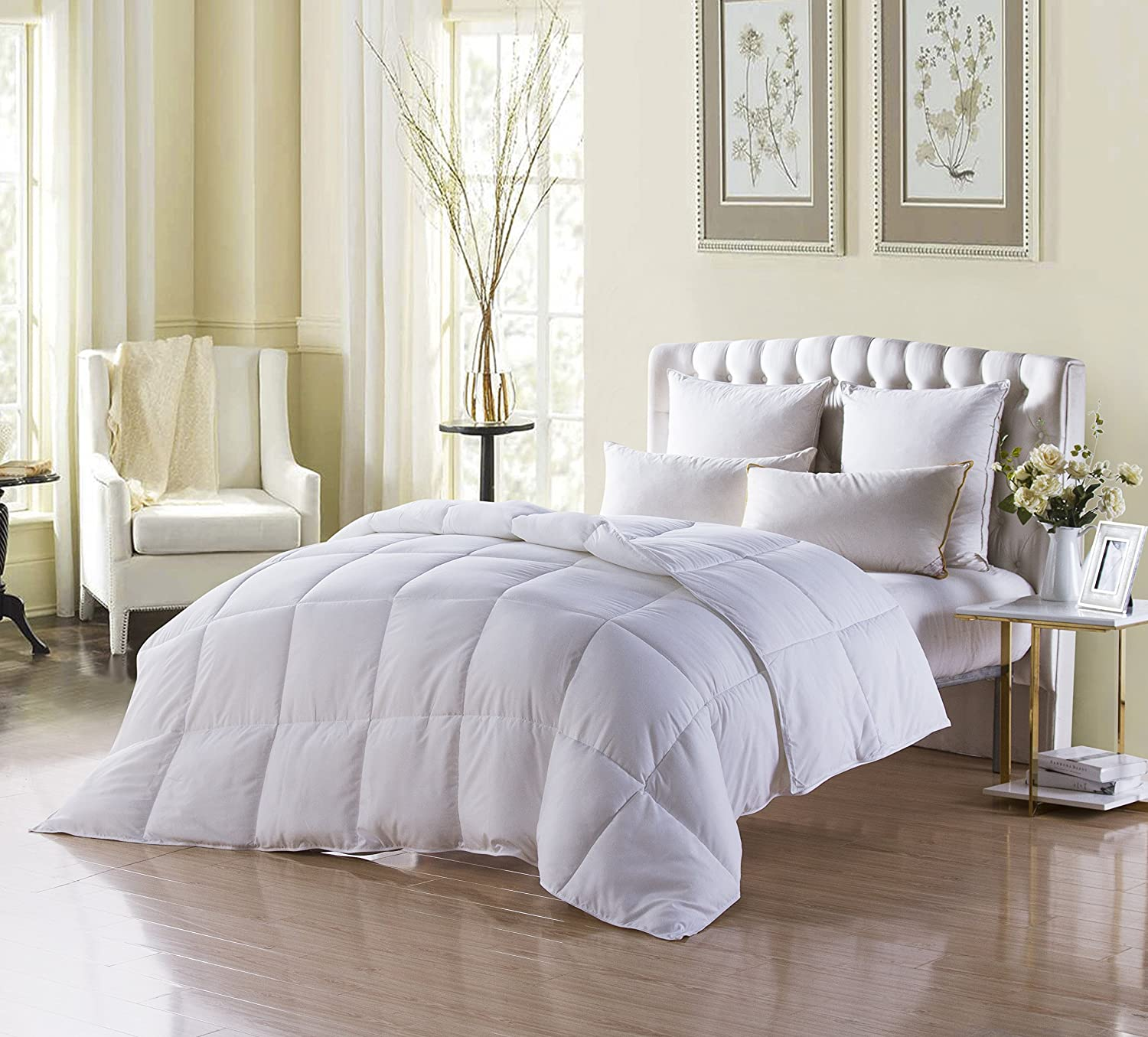 Down Alternative Comforter (White,King) - Ultra Soft Brushed Microfiber