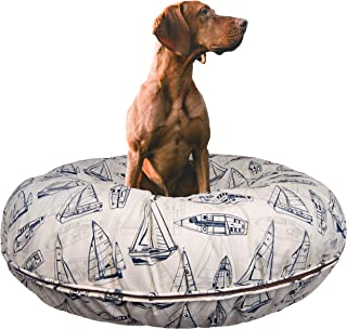 product image for BESSIE AND BARNIE Water Resistant Navy Sail Boat Indoor/Outdoor Durable Bagel Pet/Dog Bed with Removable Cover (Multiple Sizes)
