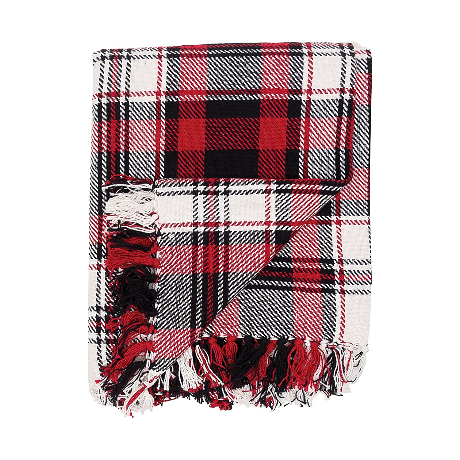 Red, black and white plaid throw blanket for fall