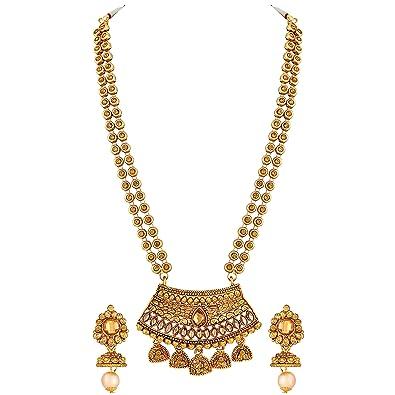 Buy Asmitta Rajwadi Style Gold Plated Lct Stone Opera Style ...