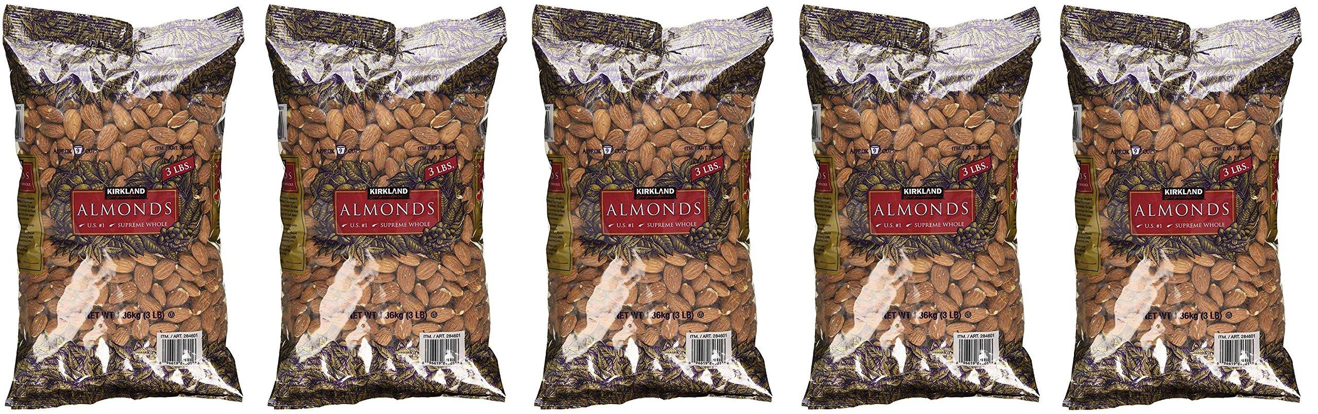 Kirkland Signature Supreme Whole Almonds, 5 Pack (3 Pounds)