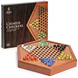 Yellow Mountain Imports Wooden Chinese Checkers Halma Board Game Set - 12.7 Inches - with Drawers and Colorful Glass…