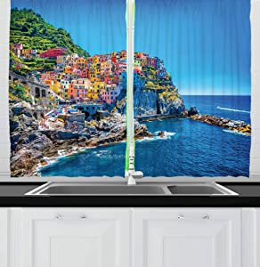 Ambesonne Wanderlust Kitchen Curtains, Mediterranean Sea Traditional Italian Design Cliff Coastline View Mountains, Window Drapes 2 Panel Set for Kitchen Cafe Decor, 55