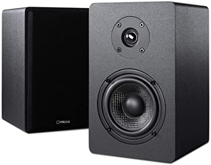 Micca PB42X Powered Bookshelf Speakers With 4 Inch Carbon Fiber Woofer And Silk Dome Tweeter