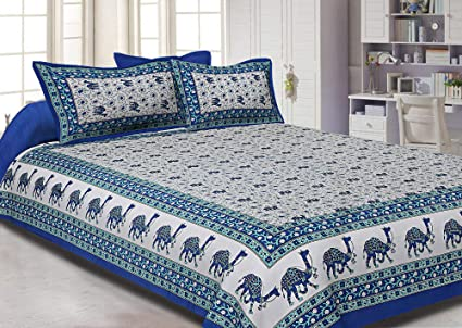 98cbe964e9 Image Unavailable. Image not available for. Colour: Jaipur Fabric Blue  Border Camel Pattern Screen Print Cotton Double Bed Sheet