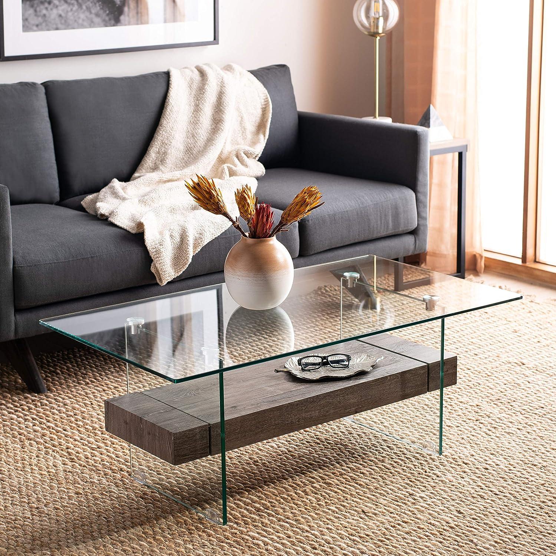Safavieh Home Kayley Grey Oak and Glass Coffee Table