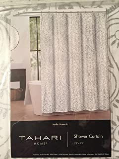 Tahari Shower Curtain Nedie Linework Silver On White Background
