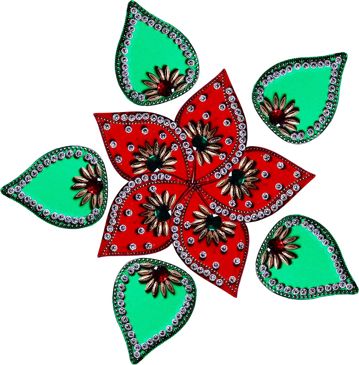 Diwali Acrylic Lotus Modak Rangoli Floor Decorations Red Color with Studded Stones and Sequins, Traditional Festive Home Décor 10 Pcs