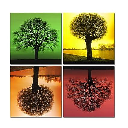 Con diseño de árboles lienzo abstracto verde amarillo naranja rojo ...