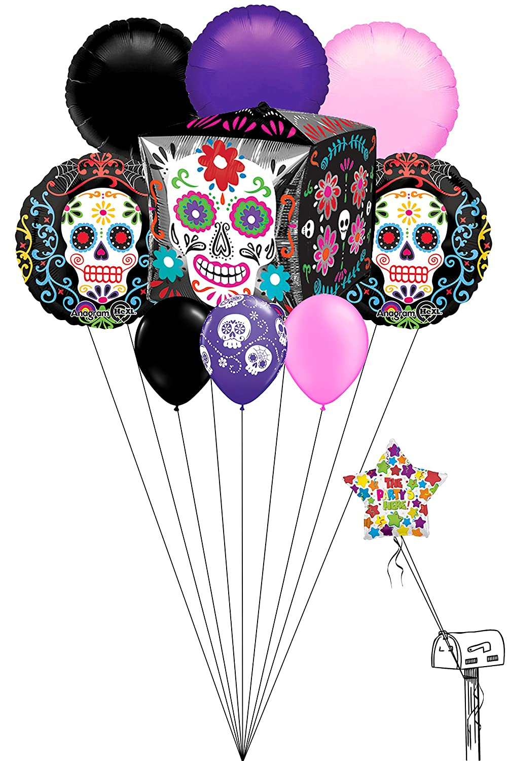 Halloween Day Of The Dead Party 9 Ct Balloon Bouquet