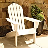 ResinTEAK HDPE Poly Lumber Adirondack Chair, White | Adult-Size, Weather Resistant for Patio Deck Garden, Backyard & Lawn Furniture | Easy Maintenance & Classic Adirondack Chair Design…