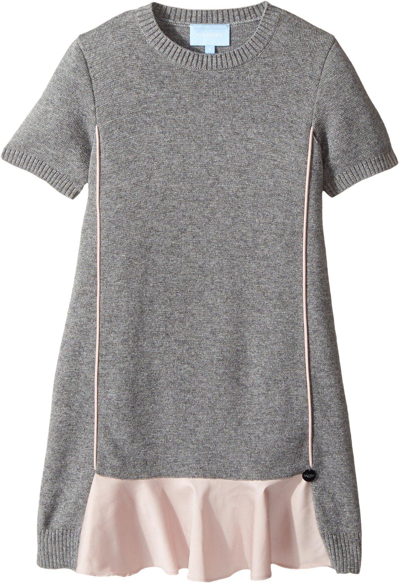 Lanvin Kids Girl's Short Sleeve Knit Dress with Contrast Ruffles On Front (Little Kids/Big Kids) Grey/Pink 8