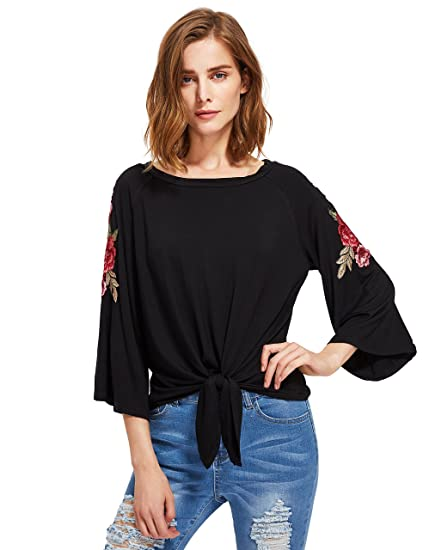 25ab1c94 Floerns Round Neck Rose Patch 3/4 Sleeve Loose Knot Front Top T-Shirt