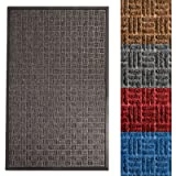 "casa pura Entrance Mat | Embossed Front Door Mat | Indoor and Outdoor Entry Rug | Anthracite | 24"" x 36"""