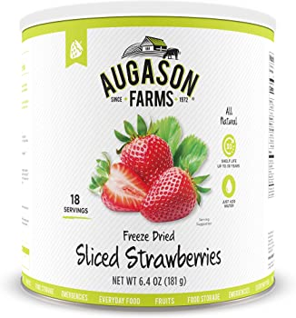 Augason Farms 10 Can 6.4oz Freeze Dried Sliced Strawberries