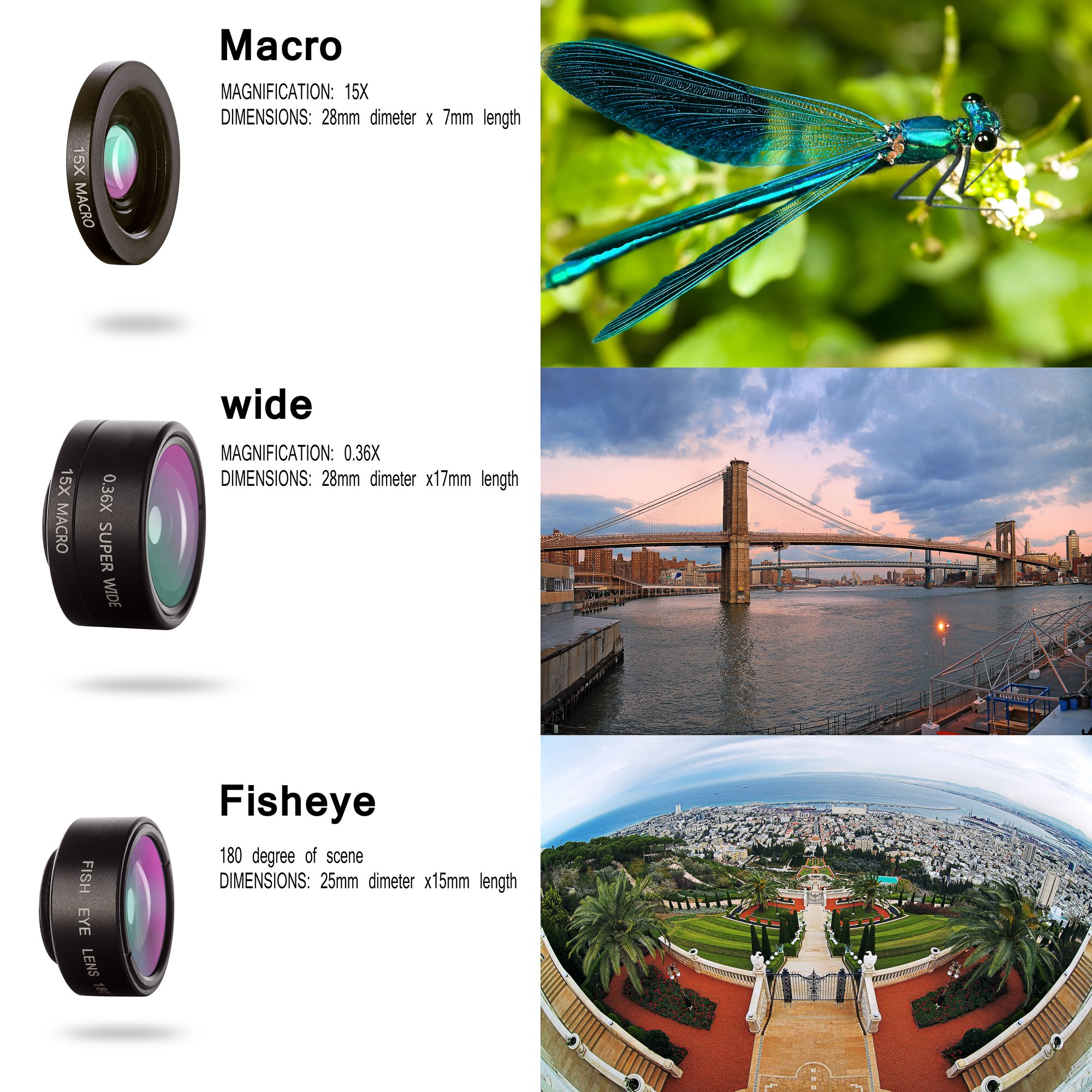Cell Phone Camera Lens Kit, LS-PRO Best quality 3 in 1 Mobile Lens ,15x  Macro Lens+0 36x Super Wide Angle Lens+180° Fisheye Lens for iPhone 7/6s/6s