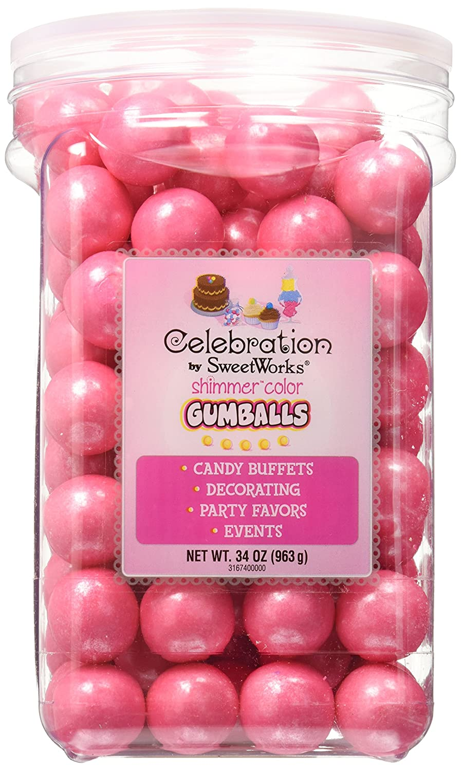 Amazon.com: Celebrations By SweetWorks Gumballs 34oz, Shimmer (TM ...