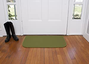Ritz Accent, Stain Resistant Kitchen Floor Rug, with Non Slip Latex Backing, 18-inch by 30-inch, Olive Green