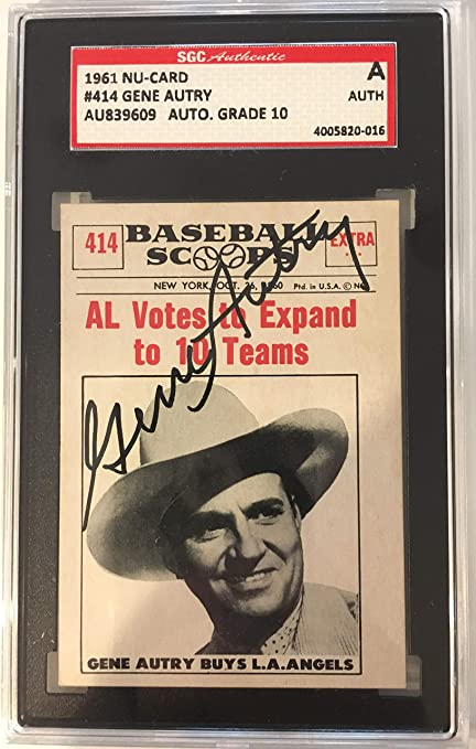 1961 Nu Card Baseball Scoops Gene Autry Autographed Card W
