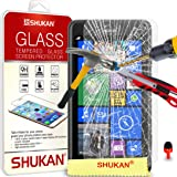 FOR Nokia Lumia 625 - SHUKAN® Premium Tempered Glass Crystal Clear LCD Screen Protector Guard & Polishing Cloth RED 2 IN 1 Dust Stopper [TG101 - SVL0]