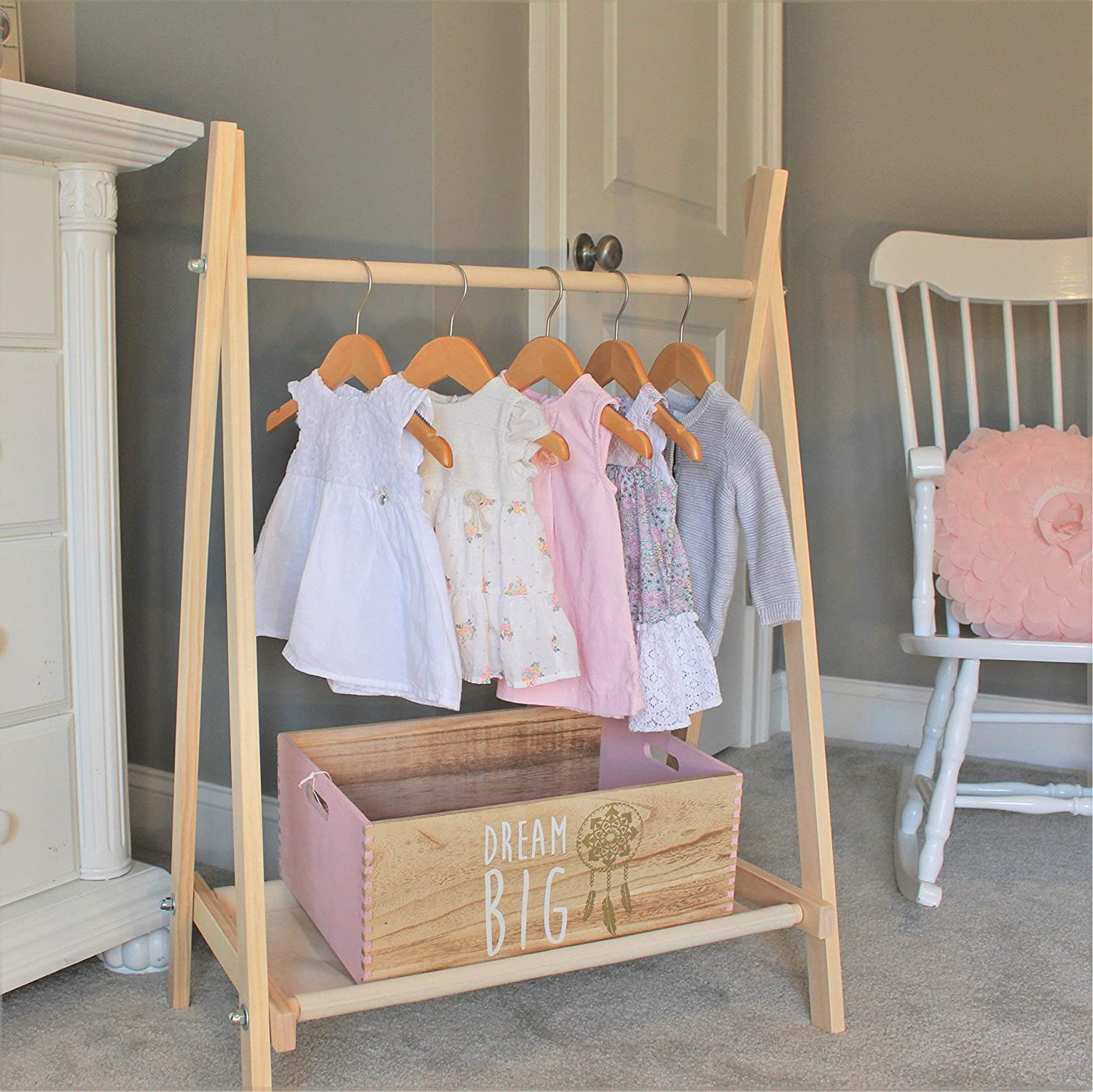 Clothing Rack Nursery Decor Dress Up Station Kids Clothing Storage Folds Up 40x26 In Tall Wooden Clothes Rack With Canvas Storage Shelf