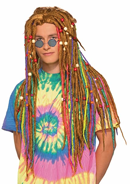 Amazon.com: Rainbow rastas Hippie Disfraz Dreadlock peluca ...
