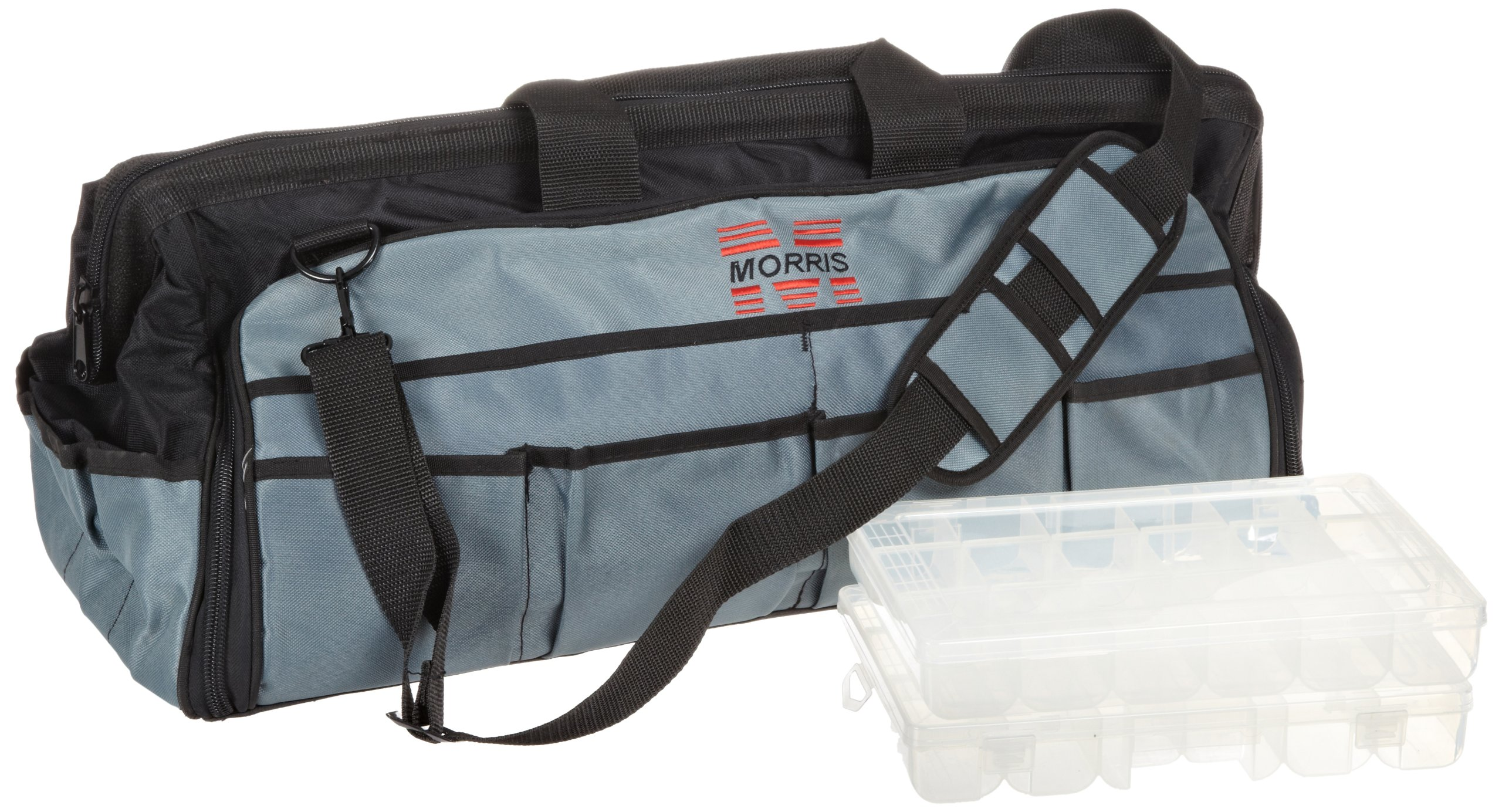 Morris Products 53516 Large Easy Search Tool Bag with Plastic Tray, 24'' Length, 8.5'' Width, 13'' Height, 59 Total - 20 inside, 39 outside Pockets