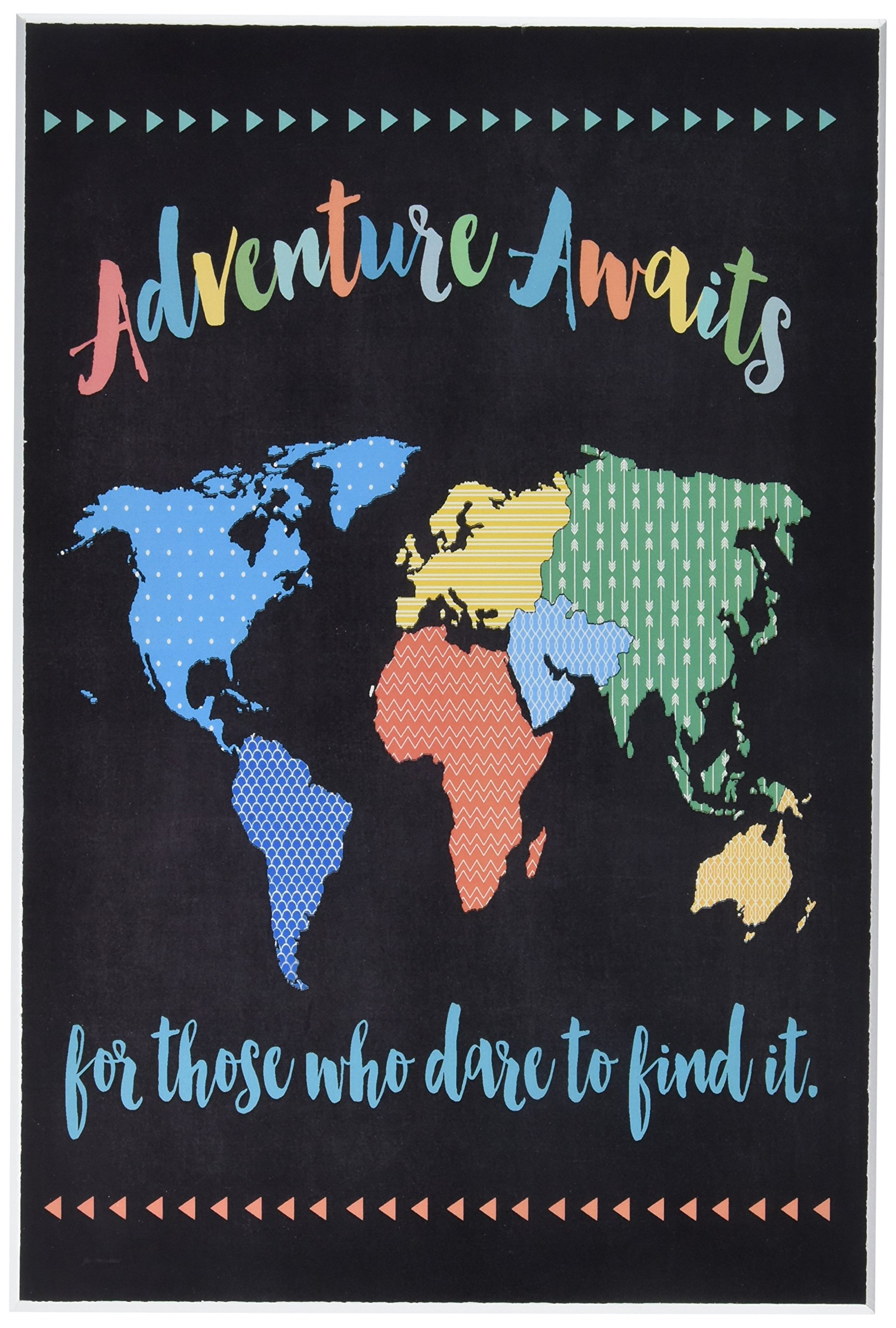 Stupell Home Décor Adventure Awaits World Map Wall Plaque Art, 10 x 0.5 x 15, Proudly Made in USA