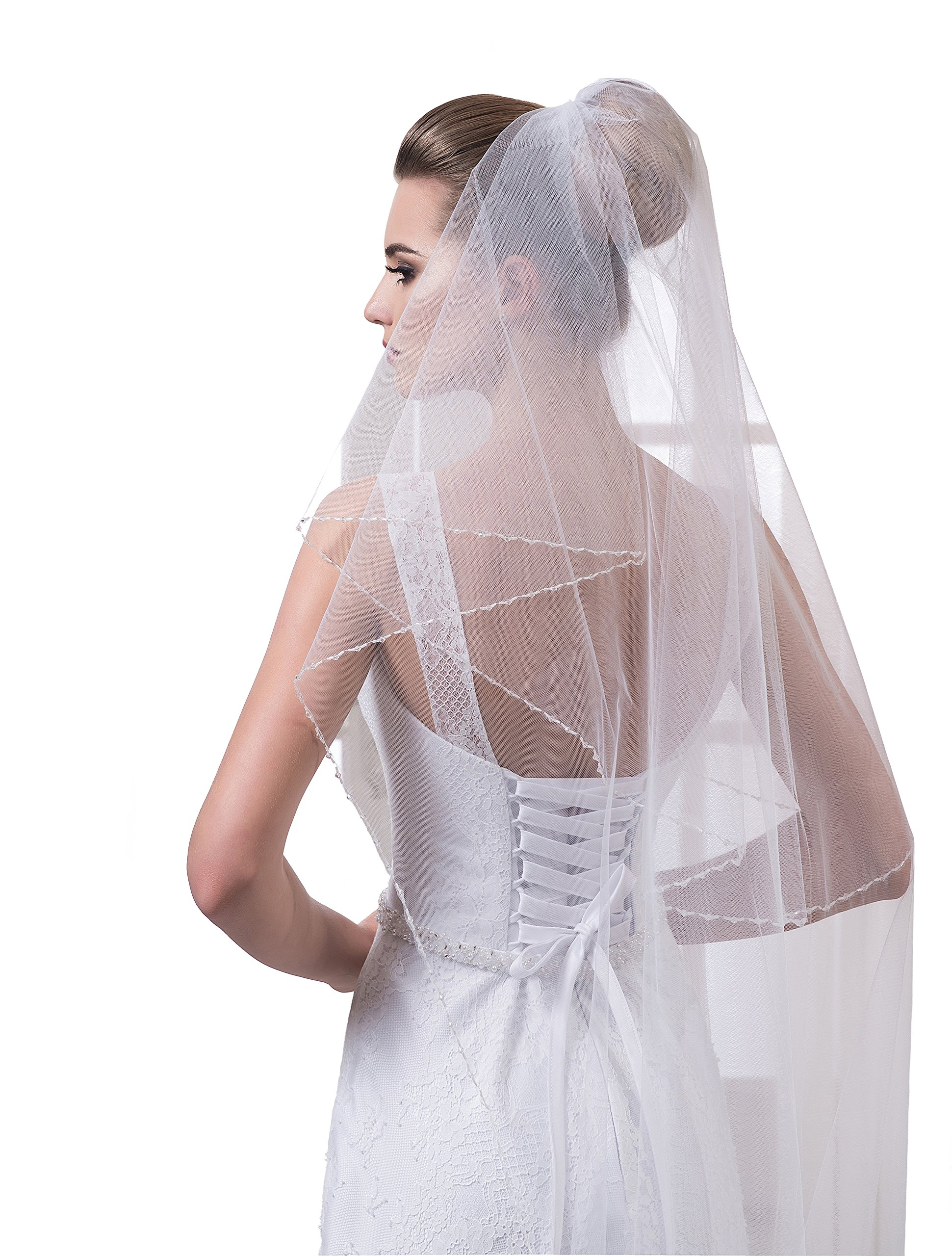Bridal Veil Piper from NYC Bride collection (mid-length 45'', white) by NYC Bride