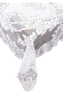 Ritz Lace Oblong Tablecloth, 63 By 108 Inch, White