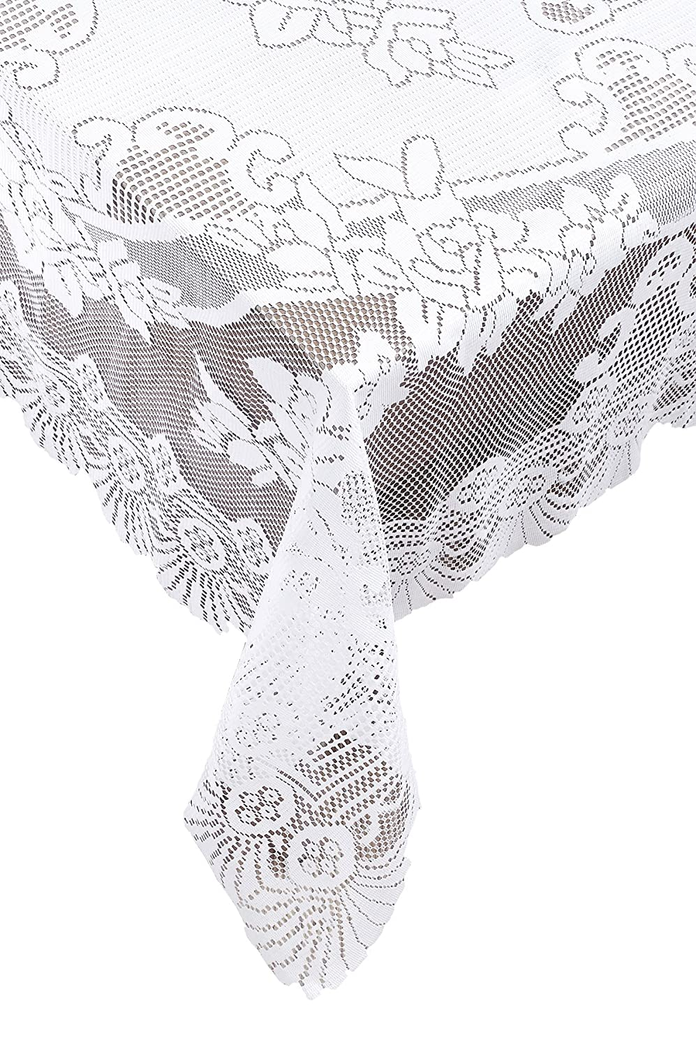 Amazon.com: Ritz 100% Polyester Linen Tablecloth, Easy Care Floral Lace,  Oval, 63 Inch By 90 Inch, White: Home U0026 Kitchen