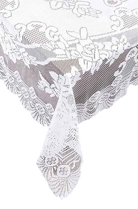 Merveilleux Ritz 100% Polyester Easy Care Linen Lace Tablecloth, 53 Inch Square (134