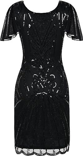 SILBER Wunderschönes Pailletten Kleid SCHWARZ