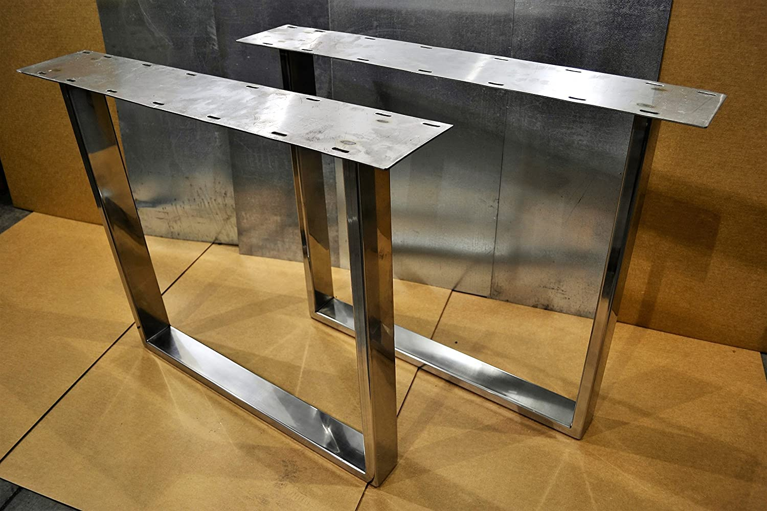 amazon com polished stainless chrome table legs rectangular rh amazon com