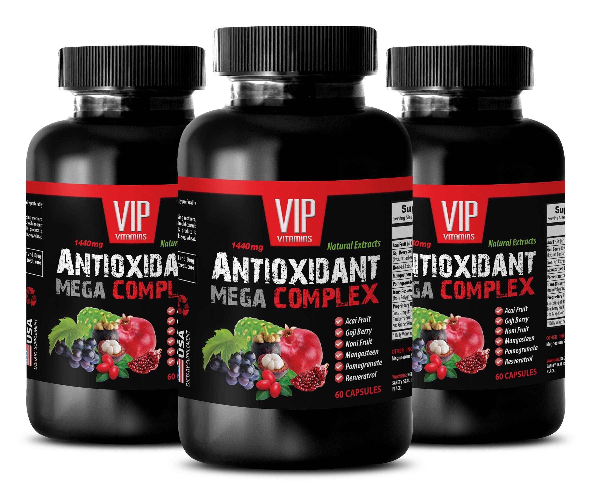 Antioxidant nutritional supplements - ANTIOXIDANT MEGA COMPLEX - Pomegranate supplement - 3 Bottles 180 Capsules