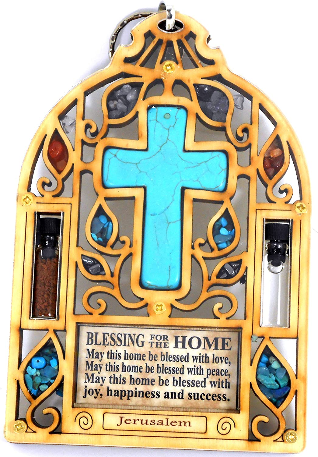 Bell Shape Wood Turquoise Cross Wall Decor Wooden Hanging Housewarming Orthodox Greek Christian Religious Plaque Charm Icon Gift Holy land Water Earth Hollow series