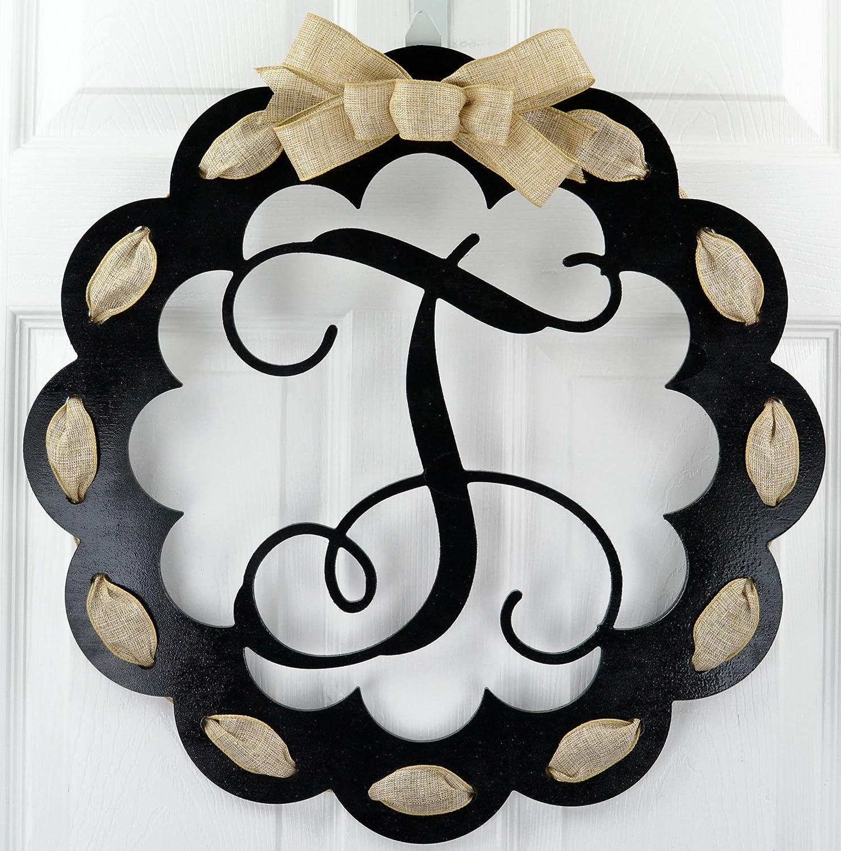 Black and Burlap Everyday Year Letter Door Hanger Letter T Monogrammed Door Hanger Mom Gift