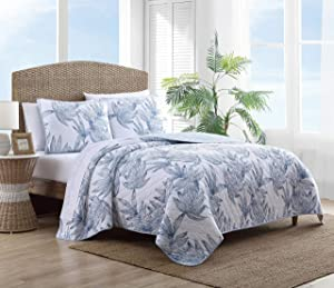 Tommy Bahama | Kayo Collection | Quilt Set - 100% Cotton - Cozy, Soft and Breathable - Reversible & Medium-Weight for All Season Bedding, Full/Queen, Blue