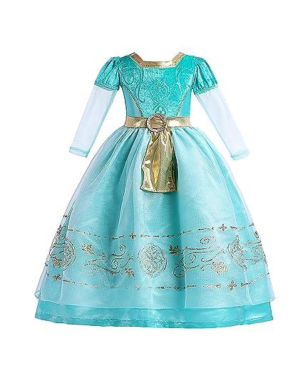 ELSA & ANNA® Princesa Disfraz Traje Parte Las Niñas Vestido de Navidad ES-MRD01 (MRD01, 5-6 Años)
