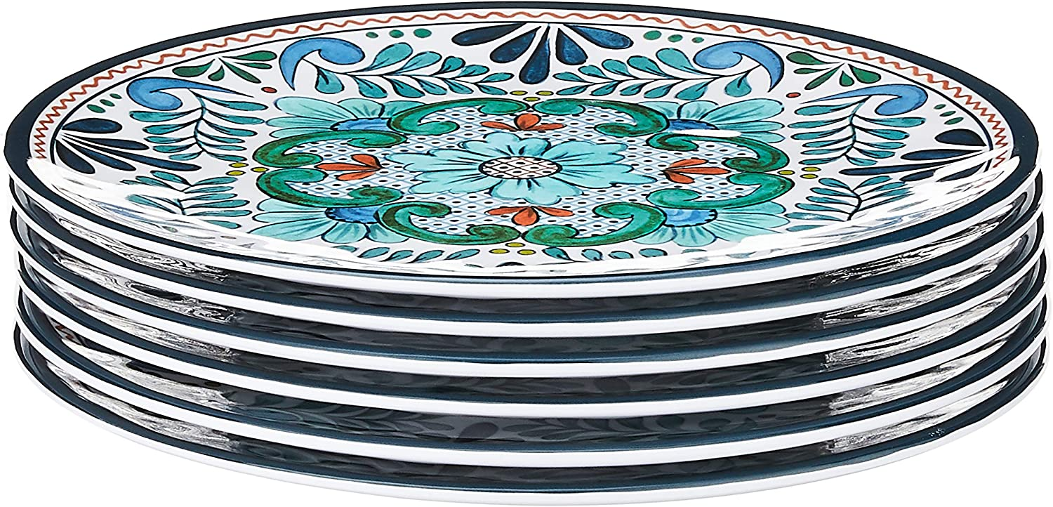 "Certified International Talavera 9"" Salad/Dessert Plate, Set of 6, 9 Inches, Multicolor"