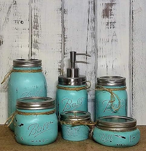 Custom 4, 5 Or 6 Piece Painted Mason Jar Bathroom Set With Soap Dispenser  Lid