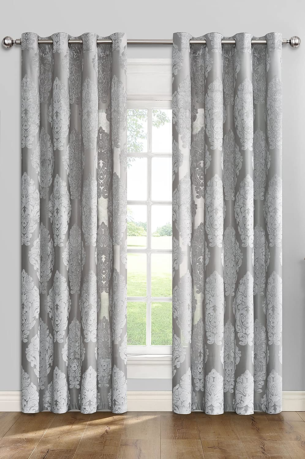 Flower Sheer Window Light Filtering Classic Curtains Drapes - Grey