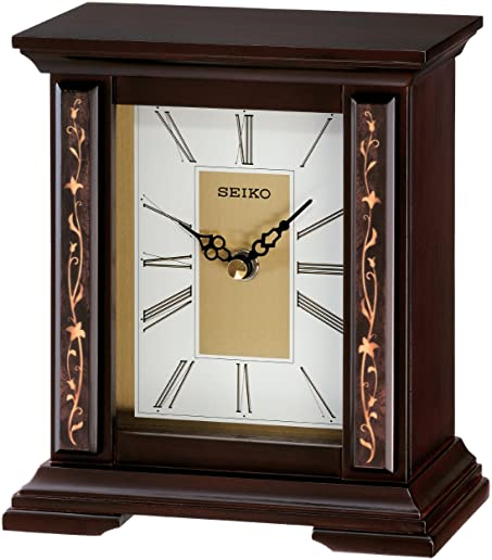 Seiko Desk And Table Clock Wooden Case With Floral Accents