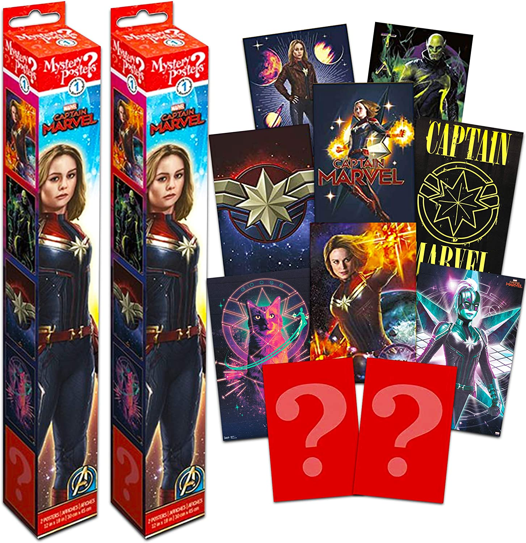 Captain Marvel Poster Mystery Set ~ Bundle Includes 4 Captain Marvel Wall Posters (Captain Marvel Room Decor for Kids Boys Girls)