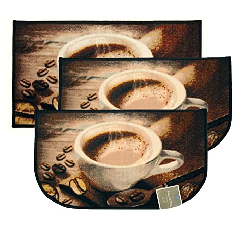 Kashi Home Coffee Bean 3pc Kitchen Rug Set 2 Slice 18 X30 Rugs 1 20 X40 Mat Non Slid Latex Back