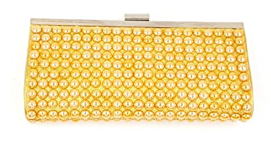 24x7 eMall Womens Double Sided Evening Clutch Bag with Golden Patterned Pearl and Adjustable Shoulder Chain